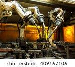 robots welding team in the... | Shutterstock . vector #409167106