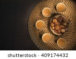 flat lay dates with arabian... | Shutterstock . vector #409174432