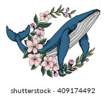 hand drawn whale with sakura... | Shutterstock .eps vector #409174492