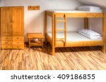 Stock photo clean hostel room with wooden bunk beds 409186855