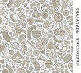 cartoon line art hand drawn... | Shutterstock .eps vector #409197982