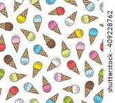 ice cream doodle seamless... | Shutterstock .eps vector #409228762