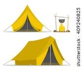cartoon tent and set bonfire... | Shutterstock .eps vector #409240825