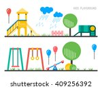 children's playground with... | Shutterstock .eps vector #409256392