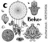 set of  boho chic style... | Shutterstock .eps vector #409293406