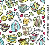 seamless pattern with doodle... | Shutterstock .eps vector #409295665