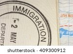 close up of immigration stamp... | Shutterstock . vector #409300912