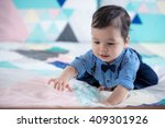 cute 11 month old mixed race...   Shutterstock . vector #409301926