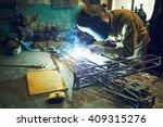 welder welding metal layout of... | Shutterstock . vector #409315276