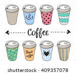 coffee to go paper cups hand... | Shutterstock .eps vector #409357078