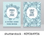 beautiful wedding cards in art... | Shutterstock .eps vector #409364956