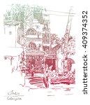 original drawing of india goa... | Shutterstock . vector #409374352