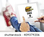 diner eating restaurant cafe... | Shutterstock . vector #409379206