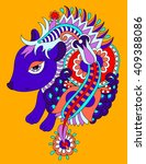 bright nice hedgehog ethnic... | Shutterstock . vector #409388086