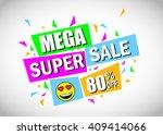 mega super sale banner with... | Shutterstock .eps vector #409414066