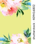 greeting card with flowers.... | Shutterstock . vector #409416802