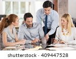 team leader pointing charts and ... | Shutterstock . vector #409447528