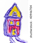 child fingerpainting of a house ... | Shutterstock . vector #40946704