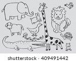 cartoon doodle animals. vector... | Shutterstock .eps vector #409491442