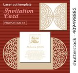 vector die laser cut wedding... | Shutterstock .eps vector #409498882
