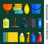 vector set of cleaning tools.... | Shutterstock .eps vector #409505908