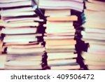 Blur Image Of Stacking Book