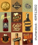 vector beer shop and beer set... | Shutterstock .eps vector #409512832