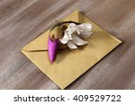 a brown envelop with magnolia... | Shutterstock . vector #409529722