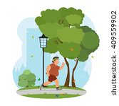 fat man feeling tired to jog in ... | Shutterstock .eps vector #409559902