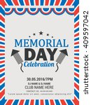 flyer or poster of memorial day ... | Shutterstock .eps vector #409597042