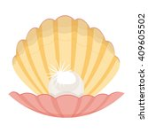 pearl in a shell vector... | Shutterstock .eps vector #409605502