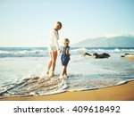 happy mother and young daughter ... | Shutterstock . vector #409618492