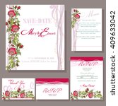 set of wedding cards with red... | Shutterstock .eps vector #409633042