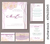 set of wedding cards or... | Shutterstock .eps vector #409633045
