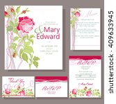 set of wedding cards with red... | Shutterstock .eps vector #409633945