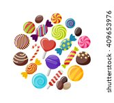 sweet candies flat icons set in ... | Shutterstock .eps vector #409653976