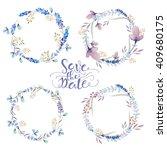 set of watercolor floral wreath.... | Shutterstock . vector #409680175