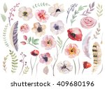 watercolor boho flower set.... | Shutterstock . vector #409680196