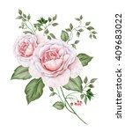 watercolor vintage roses... | Shutterstock . vector #409683022
