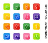 line web icon set on colorful...