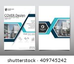 blue annual report brochure...   Shutterstock .eps vector #409745242