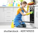 cleaning concept. woman washes... | Shutterstock . vector #409749055