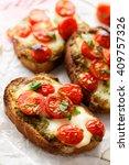 bruschetta with cherry tomatoes ... | Shutterstock . vector #409757326