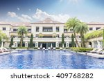 swimming pool in back yard of... | Shutterstock . vector #409768282