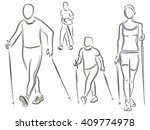 nordic walking  figures of... | Shutterstock .eps vector #409774978