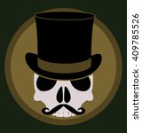 skull with mustache and top hat   Shutterstock .eps vector #409785526