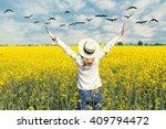 happy beautiful girl in front... | Shutterstock . vector #409794472