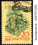 Small photo of SINGAPORE â?? APRIL 23, 2016: A stamp printed by Hungary to commemorate 40th Anniversary of Hungarian Airpost Stamps shows City Hall of Szeged, Budapest, circa 1958