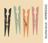Set Of Color Clothespins. Colo...