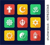 religion icons flat design | Shutterstock .eps vector #409820368